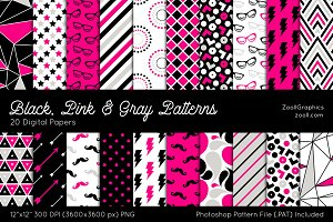 Black, Pink & Gray Digital Papers