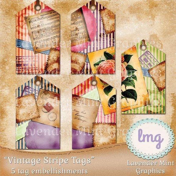 Vintage Stripe Tags
