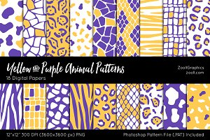 Yellow Purple Animal Digital Papers