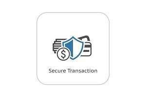 Secure Transaction Icon. Flat Design.