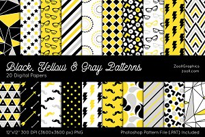 Black, Yellow & Gray Digital Papers