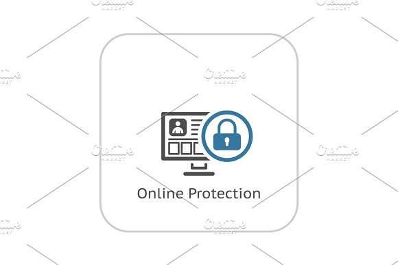 Online Protection Icon Flat Design