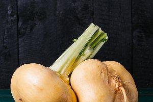 Turnip on a dark background