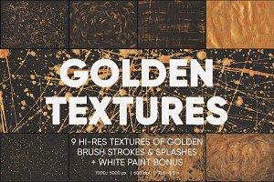 9 Macro Golden Paint Textures