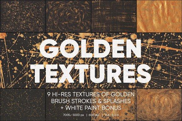 9 Golden Paint Texture White Bonus
