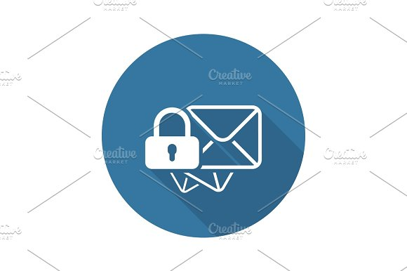Secure Mail Icon Flat Design