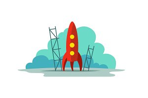Red rocket color illustration. Flat style. The startup metaphor. Ready to start. The beginning path to the stars.