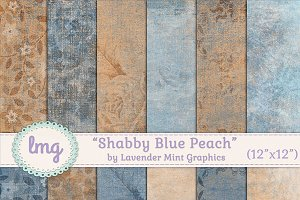 Shabby Blue Peach Scrapbook Papers