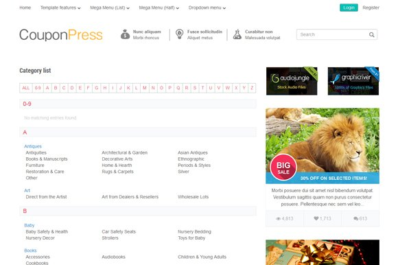 Couponpress html htmlcss themes creative market fandeluxe Image collections