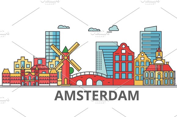 Amsterdam City Skyline Buildings Streets Silhouette Architecture Landscape Panorama Landmarks Editable Strokes Flat Design Line Vector Illustration Concept Isolated Icons On White Background