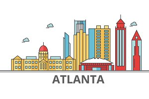 Atlanta city skyline. Buildings, streets, silhouette, architecture, landscape, panorama, landmarks. Editable strokes. Flat design line vector illustration concept. Isolated icons on white background