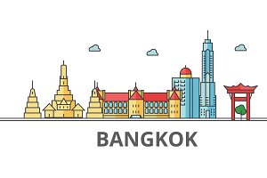 Bangkok city skyline. Buildings, streets, silhouette, architecture, landscape, panorama, landmarks. Editable strokes. Flat design line vector illustration concept. Isolated icons on white background