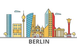 Berlin city skyline. Buildings, streets, silhouette, architecture, landscape, panorama, landmarks. Editable strokes. Flat design line vector illustration concept. Isolated icons on white background