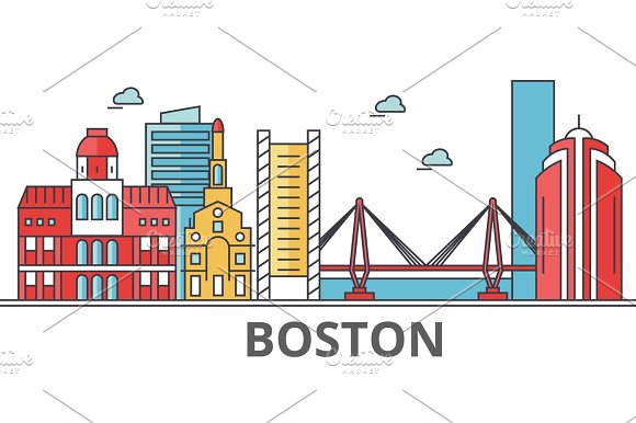 Boston City Skyline Buildings Streets Silhouette Architecture Landscape Panorama Landmarks Editable Strokes Flat Design Line Vector Illustration Concept Isolated Icons On White Background
