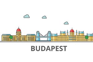 Budapest city skyline. Buildings, streets, silhouette, architecture, landscape, panorama, landmarks. Editable strokes. Flat design line vector illustration concept. Isolated icons on white background