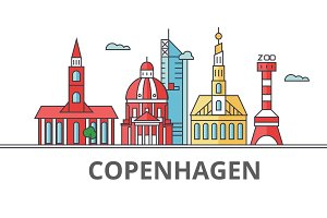 Copenhagen city skyline. Buildings, streets, silhouette, architecture, landscape, panorama, landmarks. Editable strokes. Flat design line vector illustration concept. Isolated icons on background