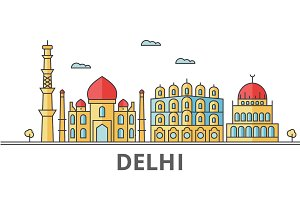Delhi city skyline. Buildings, streets, silhouette, architecture, landscape, panorama, landmarks. Editable strokes. Flat design line vector illustration concept. Isolated icons on white background