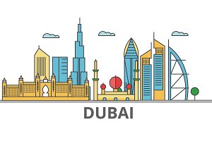 Dubai city skyline. Buildings, streets, silhouette, architecture, landscape, panorama, landmarks. Editable strokes. Flat design line vector illustration concept. Isolated icons on white background