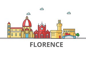 Florence city skyline. Buildings, streets, silhouette, architecture, landscape, panorama, landmarks. Editable strokes. Flat design line vector illustration concept. Isolated icons on white background