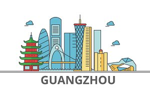 Guangzhou city skyline. Buildings, streets, silhouette, architecture, landscape, panorama, landmarks. Editable strokes. Flat design line vector illustration concept. Isolated icons on white background