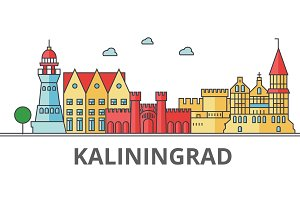 Kaliningrad city skyline. Buildings, streets, silhouette, architecture, landscape, panorama, landmarks. Editable strokes. Flat design line vector illustration concept. Isolated icons on background