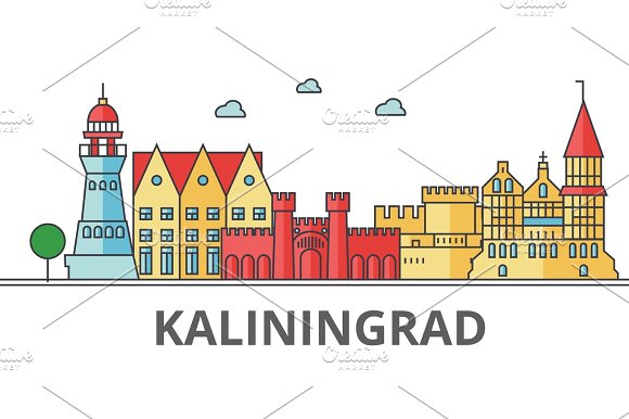 Kaliningrad City Skyline Buildings Streets Silhouette Architecture Landscape Panorama Landmarks Editable Strokes Flat Design Line Vector Illustration Concept Isolated Icons On Background
