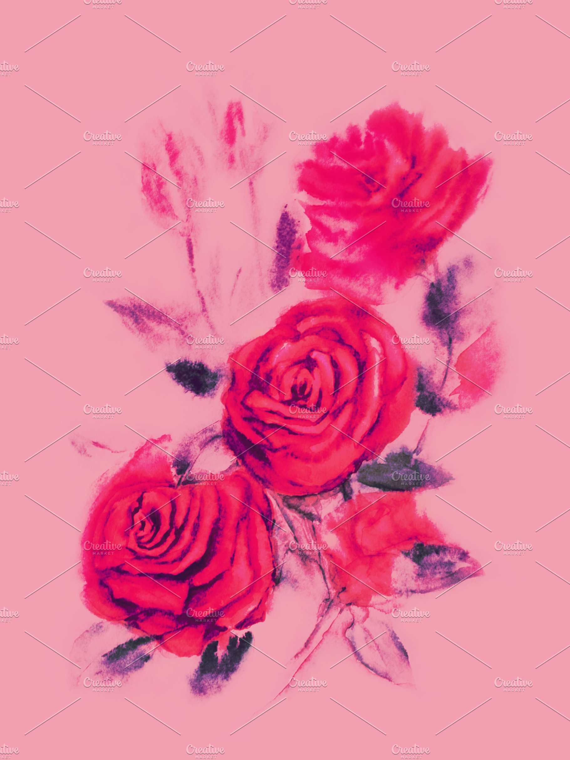 Red Roses Watercolor Painting On Pink Background High Quality