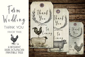 Vintage Farm Wedding Thank You Tags