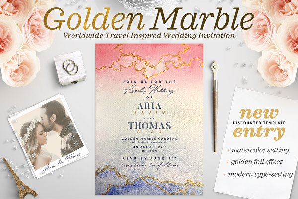 Golden Marble Wedding Invitation I