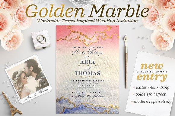 Golden Marble Wedding Invitation I