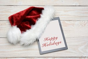 Santa Hat With Happy Holidays Tablet