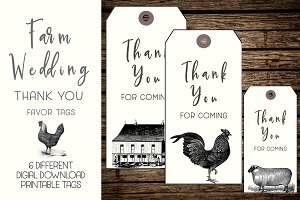 Rustic Farm Wedding Thank You Tags