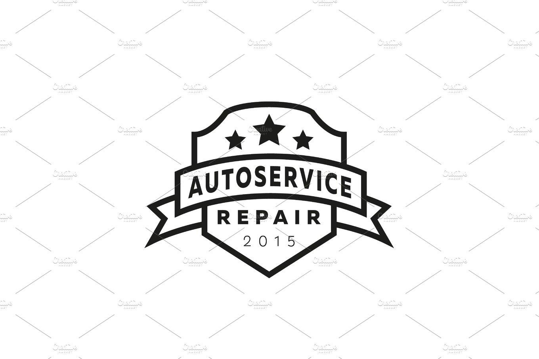 Service auto repair, coat of arms shield, hammer, wheel