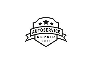 Service auto repair, coat of arms shield, hammer, wheel logo sign flat star.