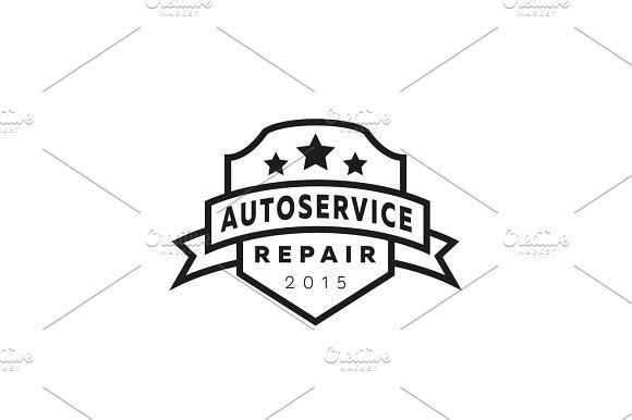 Service Auto Repair Coat Of Arms Shield Hammer Wheel Logo Sign Flat Star