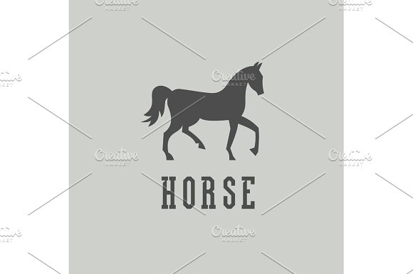 Laconic horse sign monogram, mare, into flat style, vector illustration.
