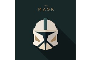 Mask villain into flat style vector graphics art
