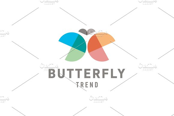 Butterfly wings are half circles Abstract illustration of colorful sign trend in Illustrations
