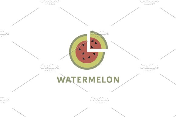 Watermelon Into Flat Style With A Triangular Piece Cut