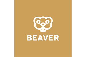 Beaver lines vector an outline monochrome minimalism modern trend monogram animal rodent, Harek, toothy smile eyes