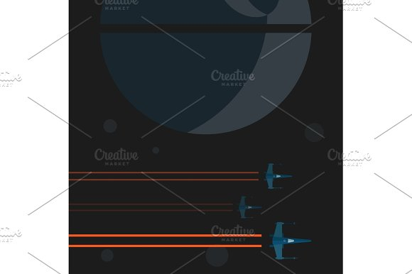 Illustrations Space Shuttle Flying Near A Planet In Flat Trend Graphics Art Design