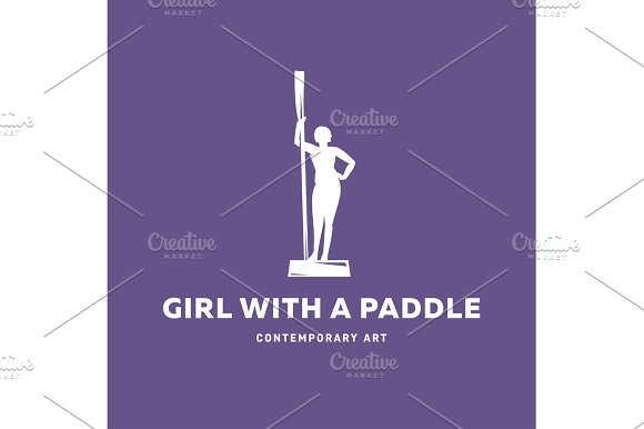 Girl With A Paddle Statue Monument Sign Vector Illustration