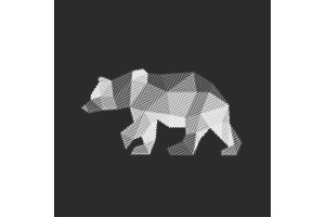 Bear polygon animals engraved fully vector graphics