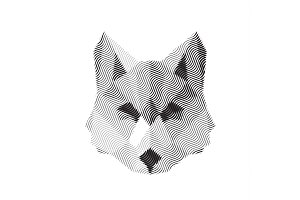 wolf engraved sign illyustrat vector animals