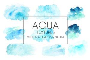 Aqua Watercolor Textures Vector&PNG