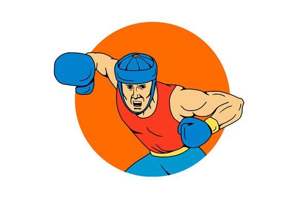Amateur Boxer Overhead Punch