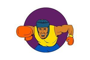 Amateur Boxer Punching Circle
