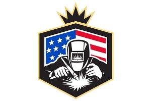 Welder Arc Welding USA Flag Crest