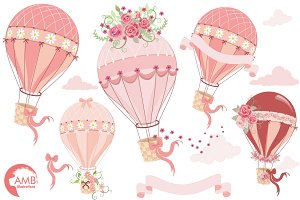 Hot Air Balloon Floral Clipart, 1231