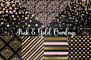 Pink and Gold PNG Overlays
